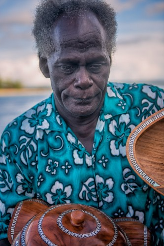 Solomon Islander Wood Carver with Rosewood Bowl