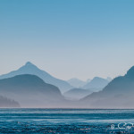 Silhouetted mountains, Johnstone Strait